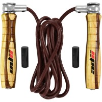 ADii HiTec Weighted Jump Rope, Speed Rope, Skipping Rope With Wooden Handle & Leather Rope Adjustable Swivel